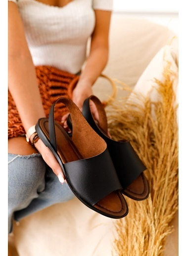 Limoya Kaia Taba Hakiki Deri Sandalet Siyah